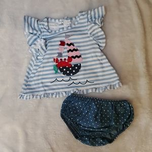 Mud Pie Baby Girl Outfit 6-9M